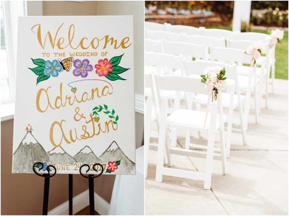 outdoor wedding ceremony with pink flowers