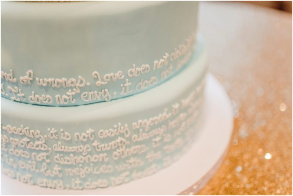 fondant cake with scripture written on it