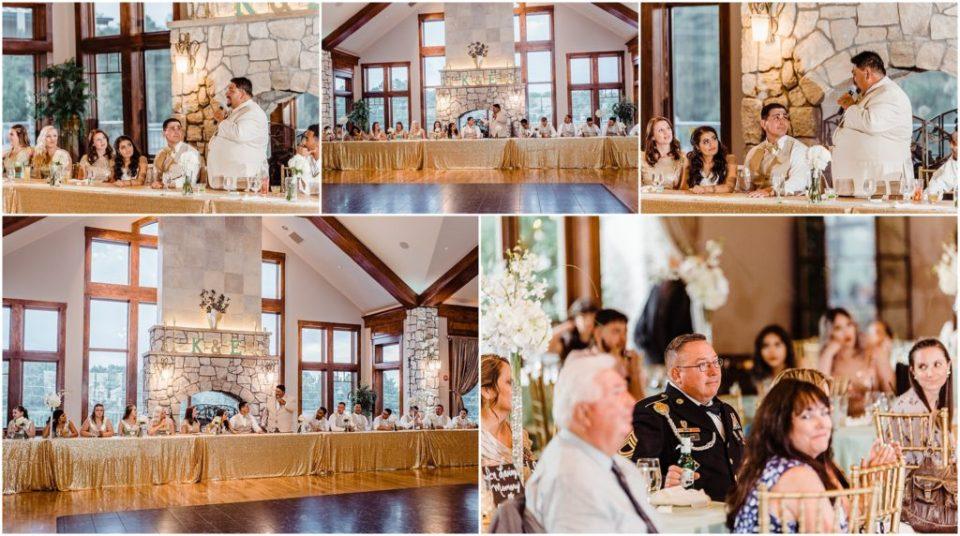 cielo at castle pines wedding reception speech photos