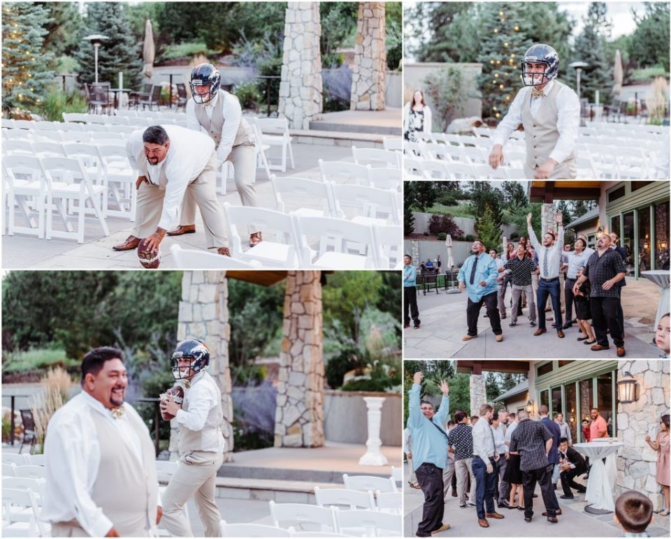 garter toss at cielo at castle pines wedding