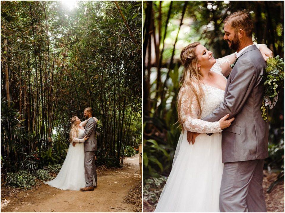 bride and groom in a bamboo garden