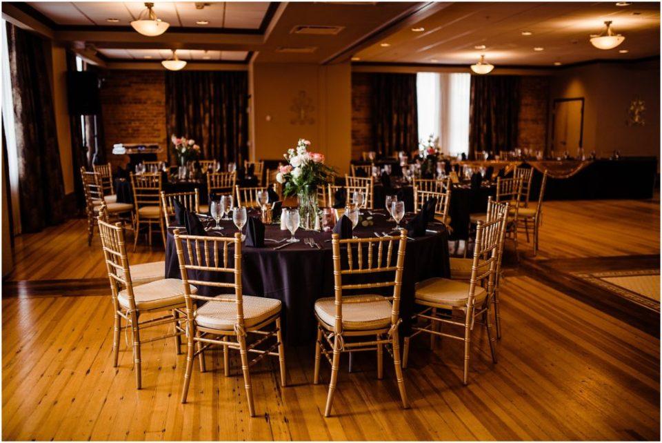 mining exchange brick ballroom wedding reception