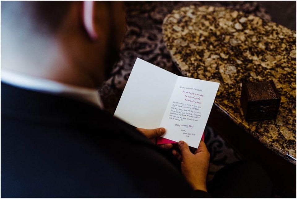 groom receiving gift from bride