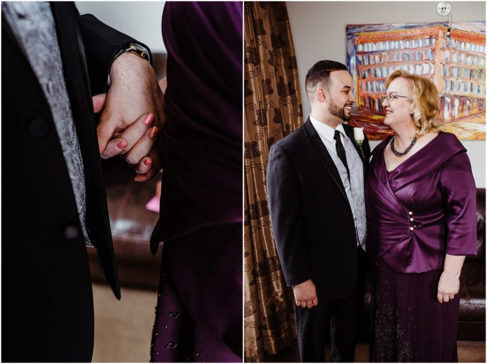 groom's first look with his mom