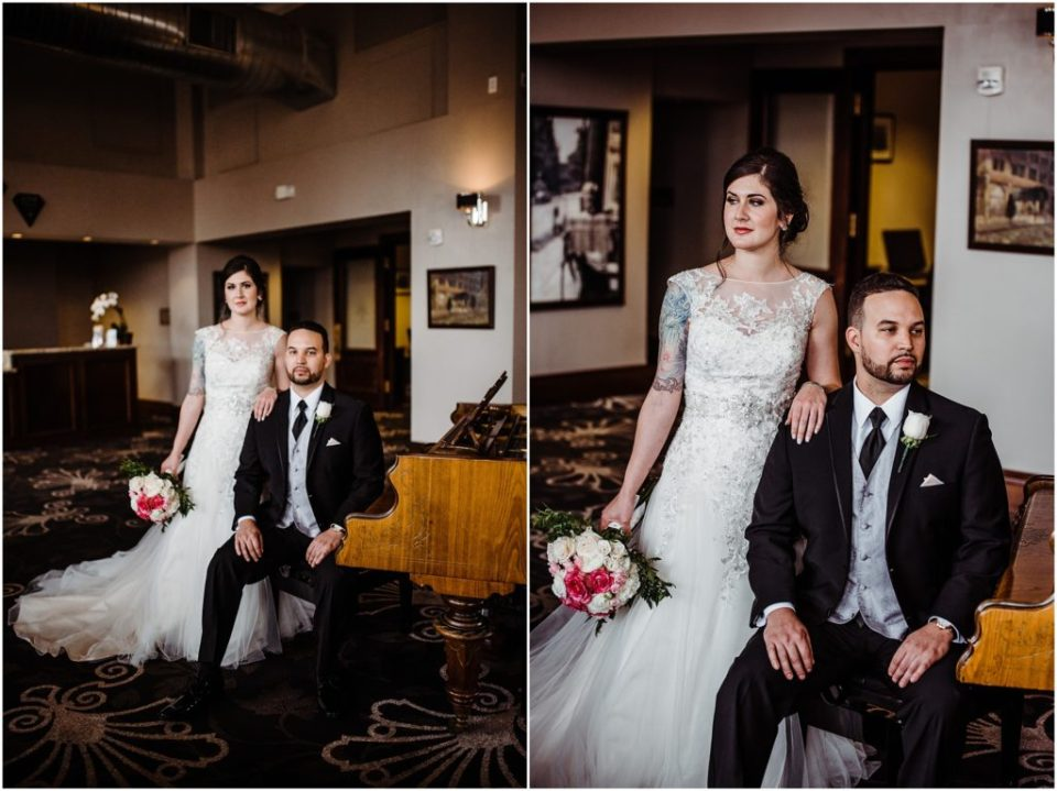 wedding portraits in the mining exchange hotel lobby