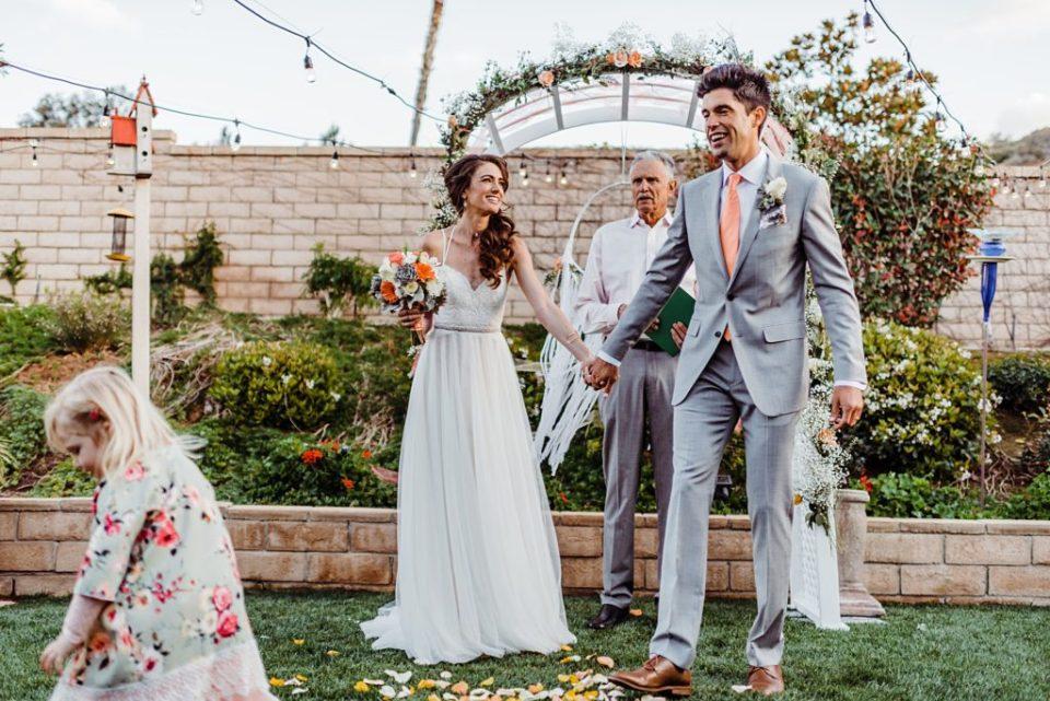 intimate backyard wedding ceremony
