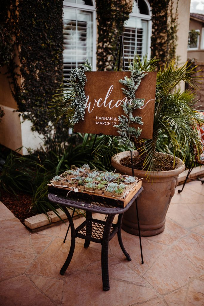 wedding welcome sign with succulents