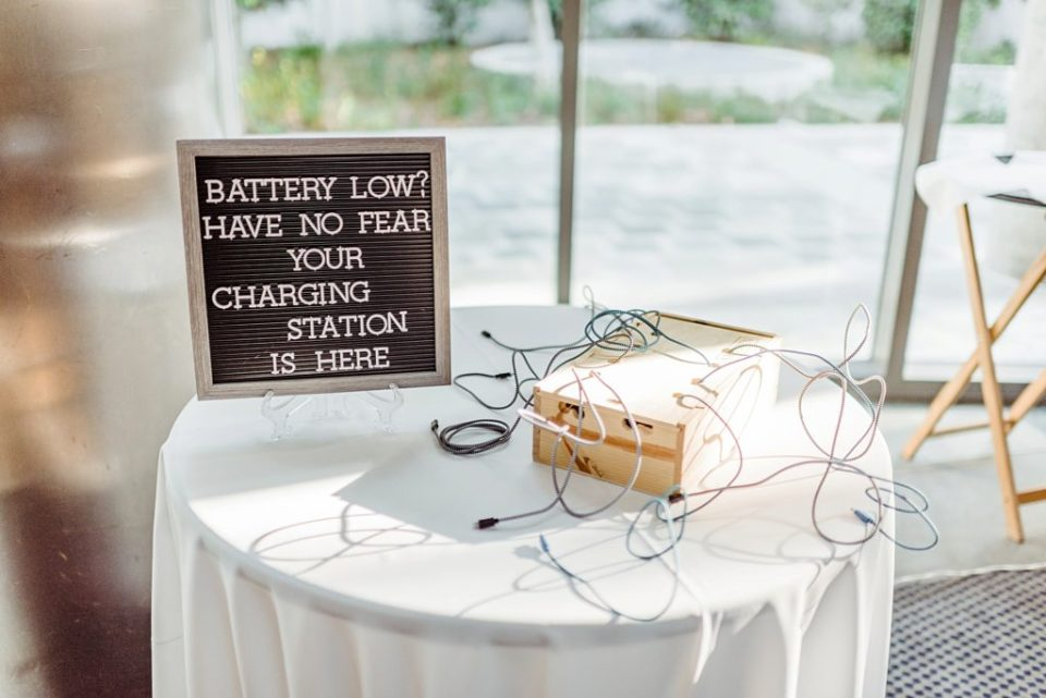 charging station for phones at a wedding