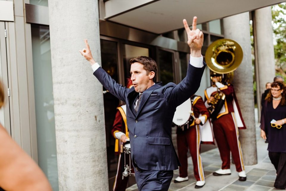 USC marching band at a wedding
