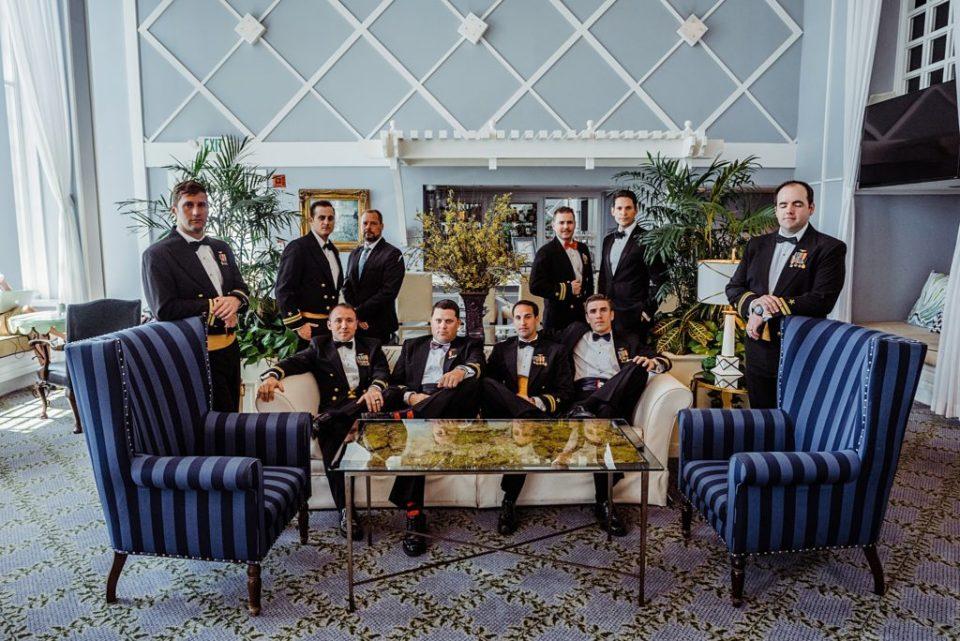 groom portraits in hotel lobby