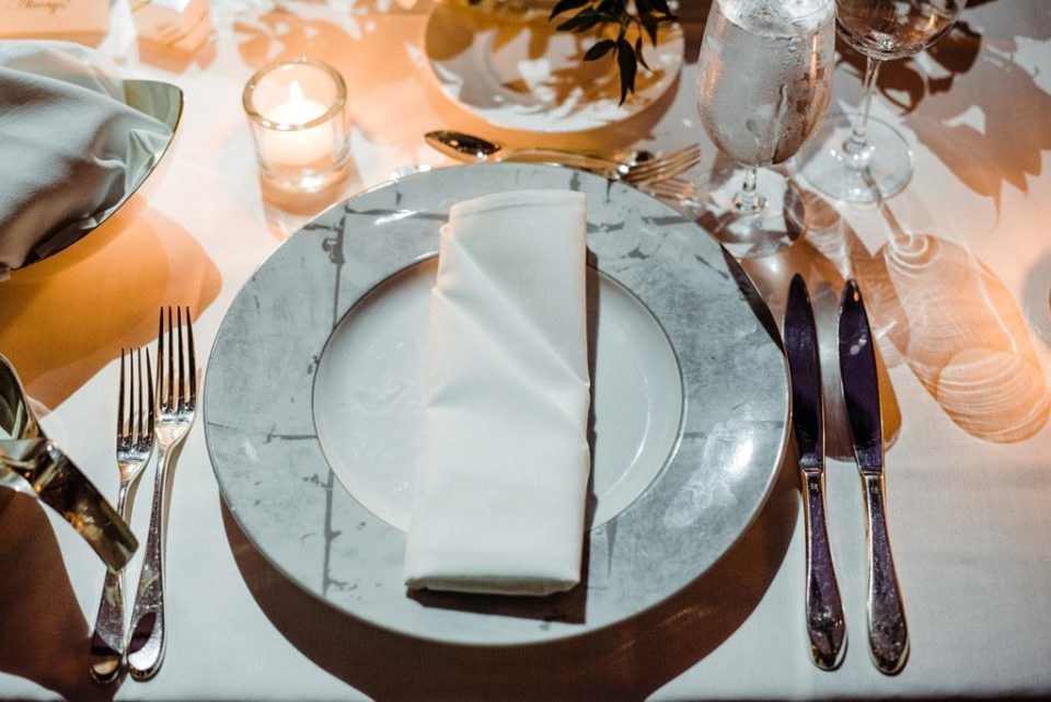 wedding place setting by candle light