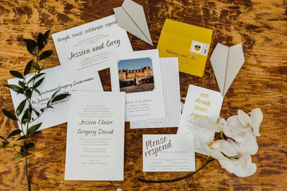 yellow and white wedding invitations