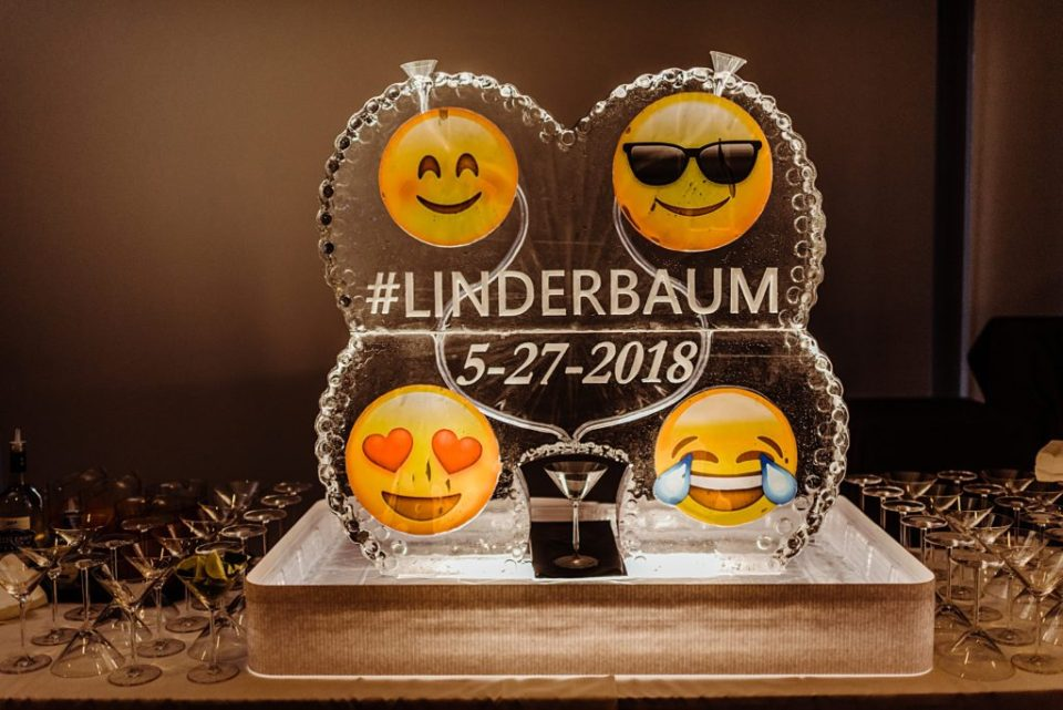 ice sculpture with emojis