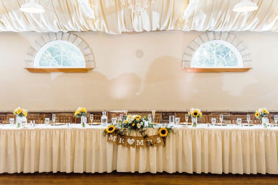 sunflower wedding reception decor