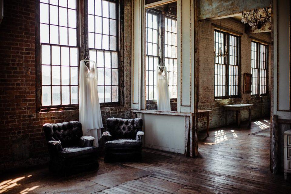wedding dress in a large window