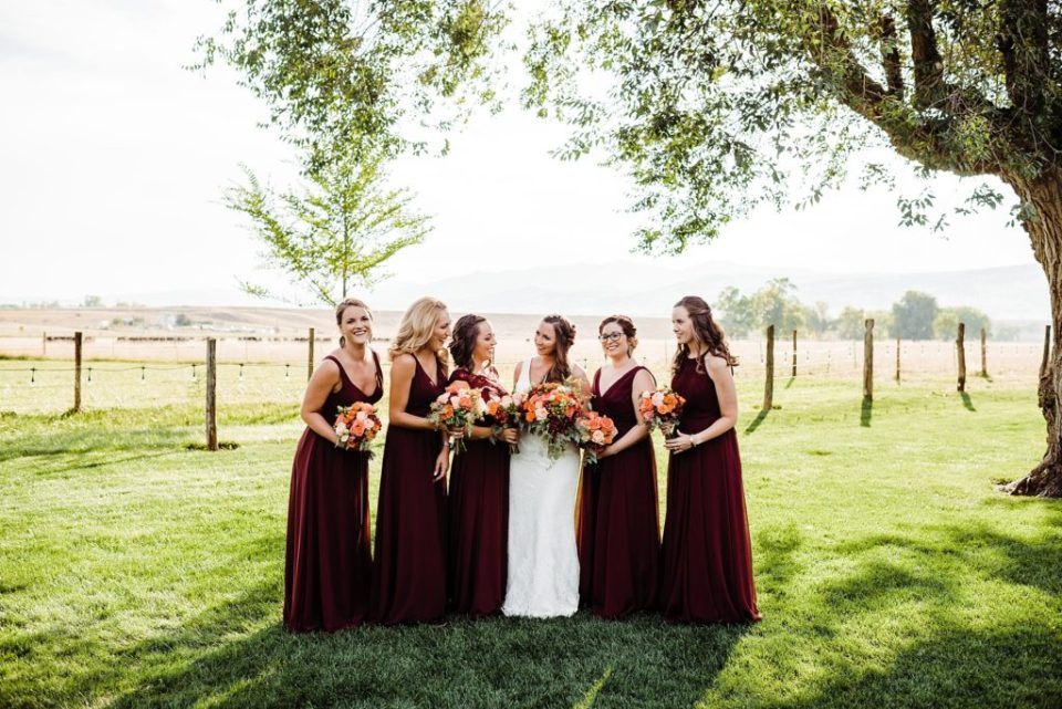 maroon and gray wedding party