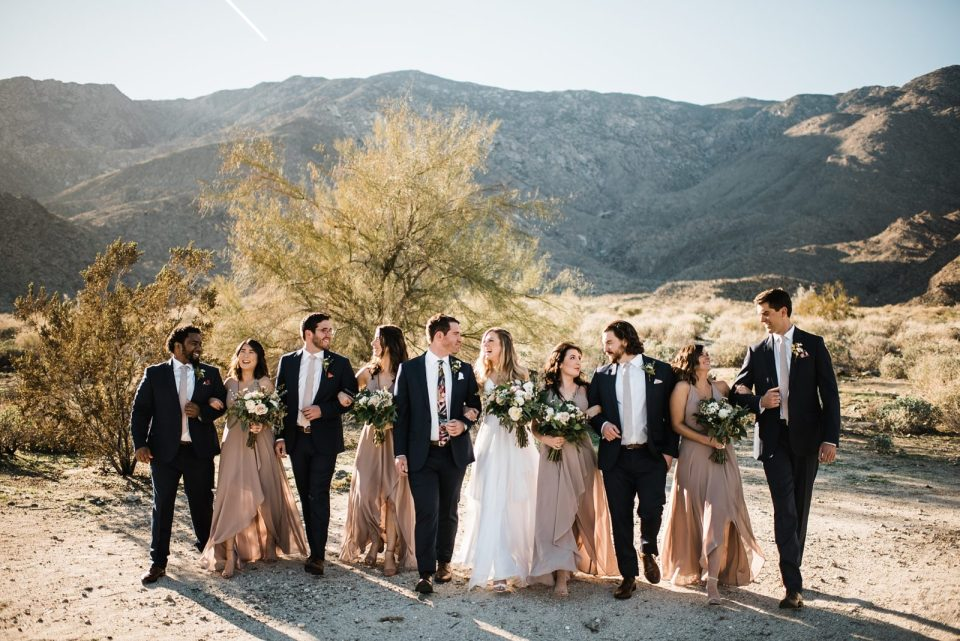 large wedding party photos in the desert palm springs wedding