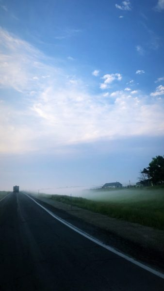 foggy Kansas morning on cross country move