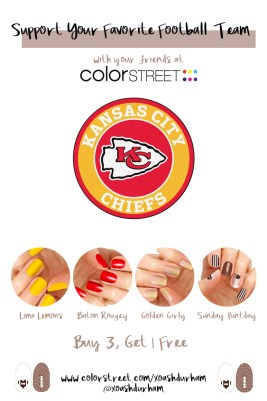 Manis for Super Bowl Kansas City Chiefs inspired nails