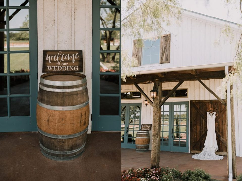 wedding dress hanging up at deerfield estates