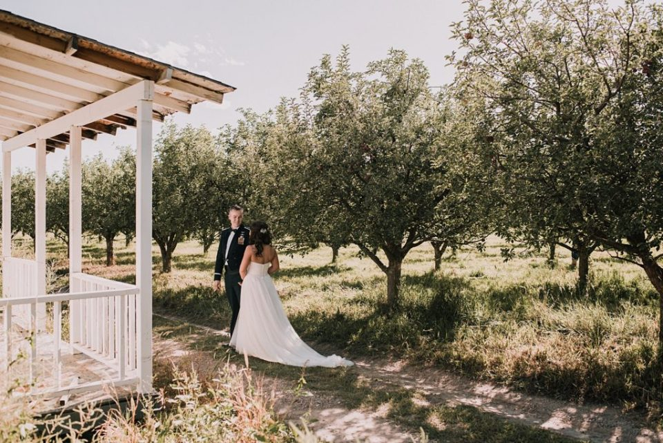 wedding day first look at an apple orchard