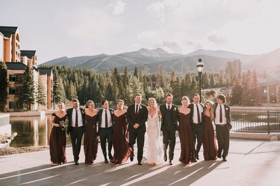 wedding party photos at Main Street Station in Breckenridge Colorad