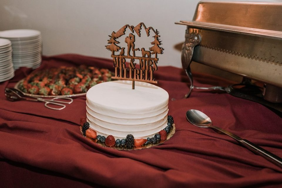 wedding cake with wood topper
