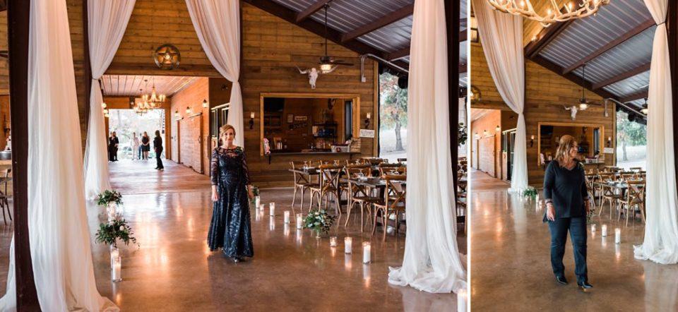indoor wedding ceremony at rockin b ranch in pipe creek texas