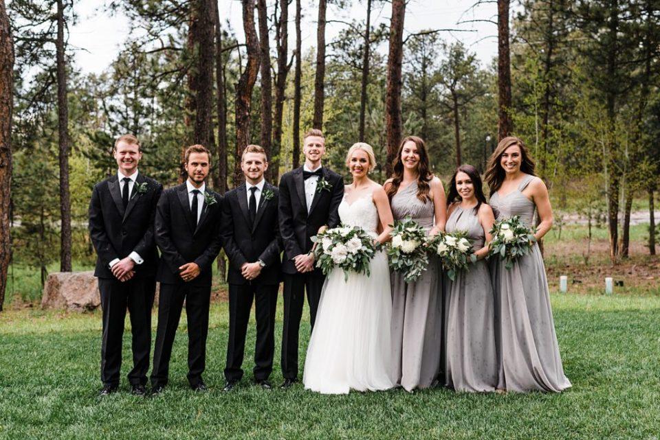 rainy wedding day wedding party photos