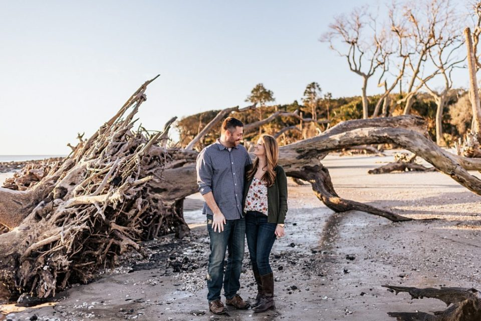 husband and wife at driftwood beach