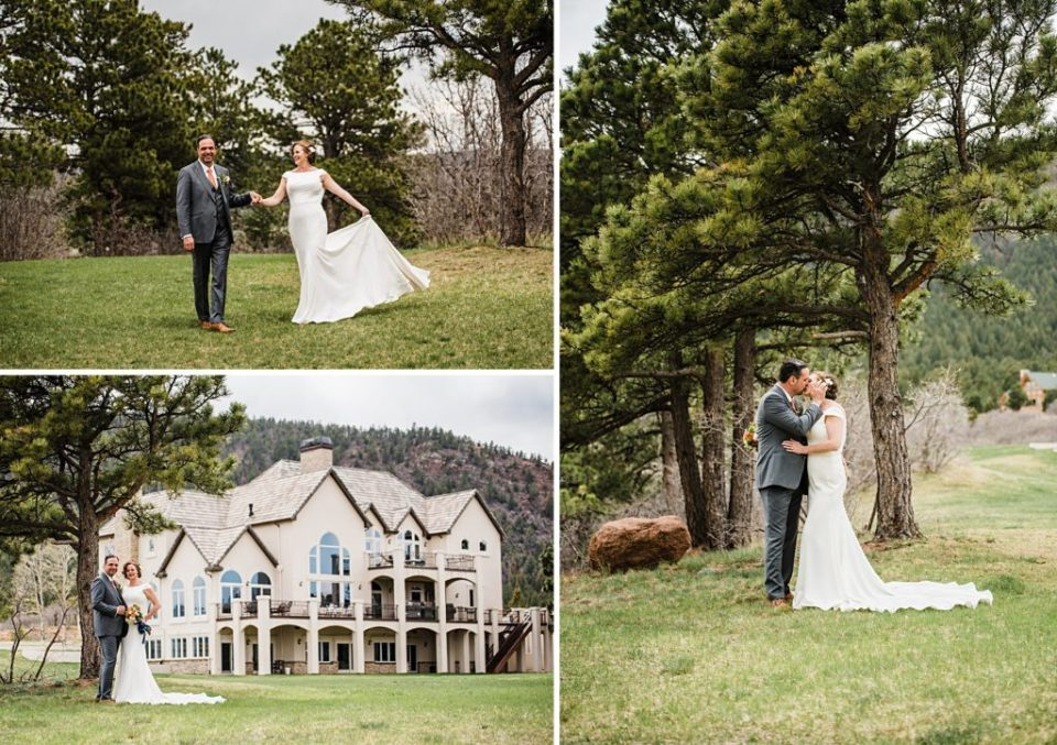 bride and groom estate wedding in colorado