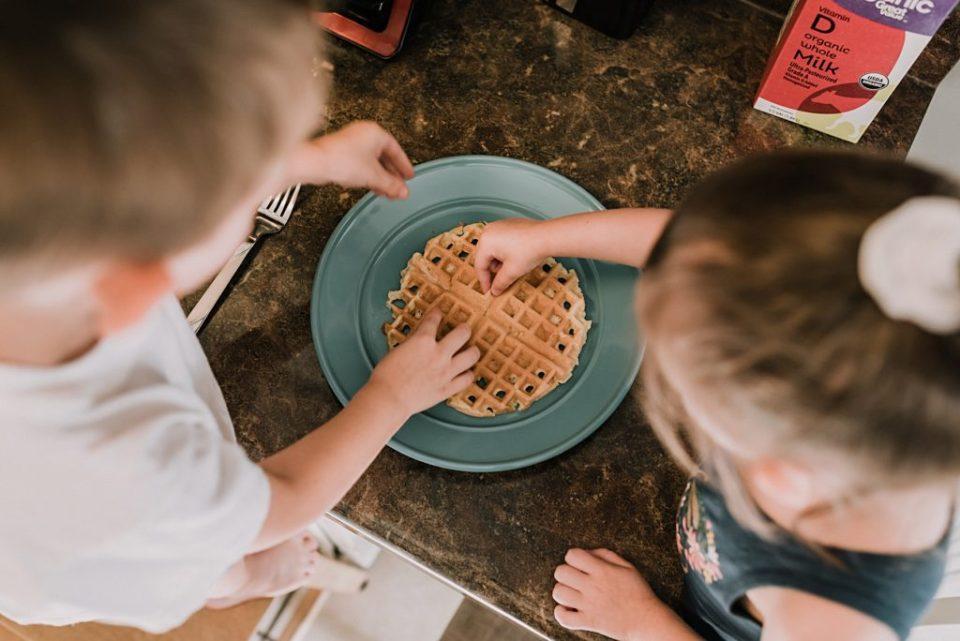kids eating hot waffles