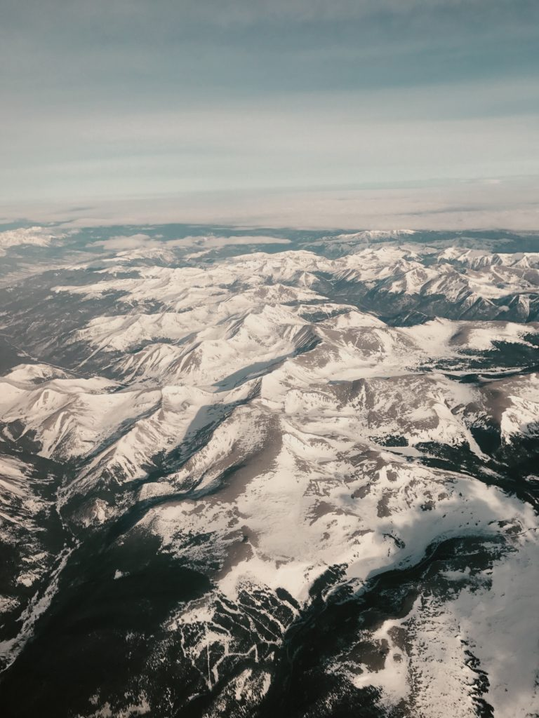 View of the Colorado Rockies from an airplane