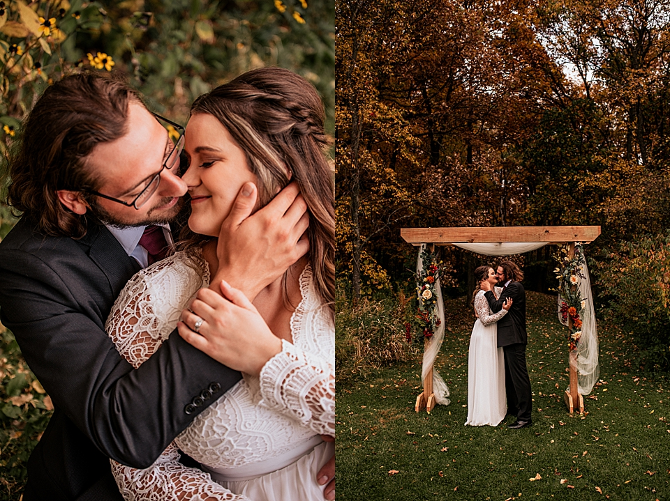 autumn inspired wedding arch flowers