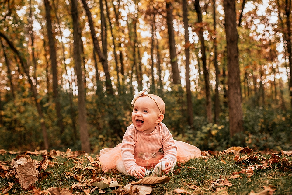 6 month old baby girl in the fall in wisconsin