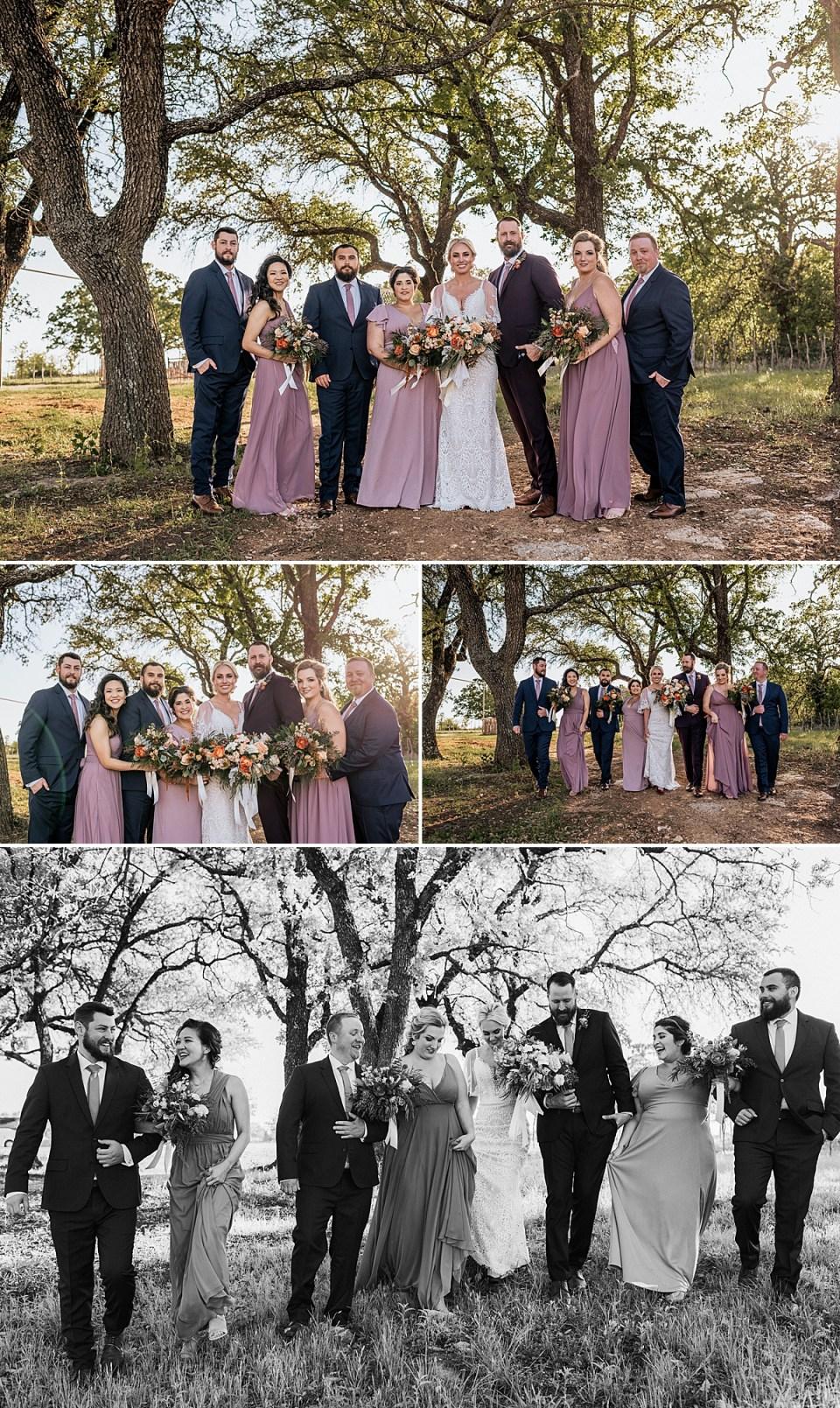 wedding party photos at weatherford texas wedding at lazy s hacienda