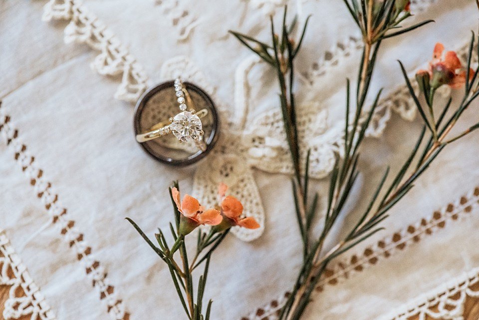wedding rings on antique hankerchief