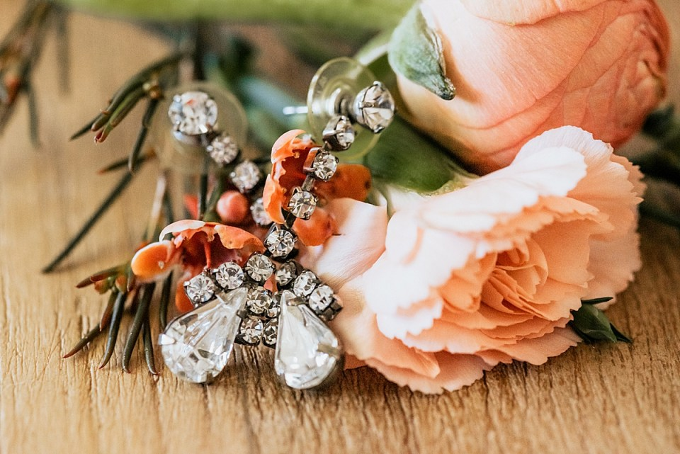 antique earrings with peach flowers