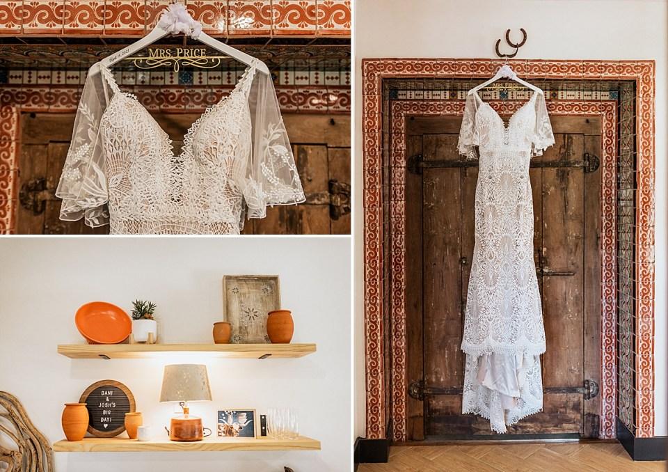 wedding dress hanging up in bridal suite at lazy s hacienda