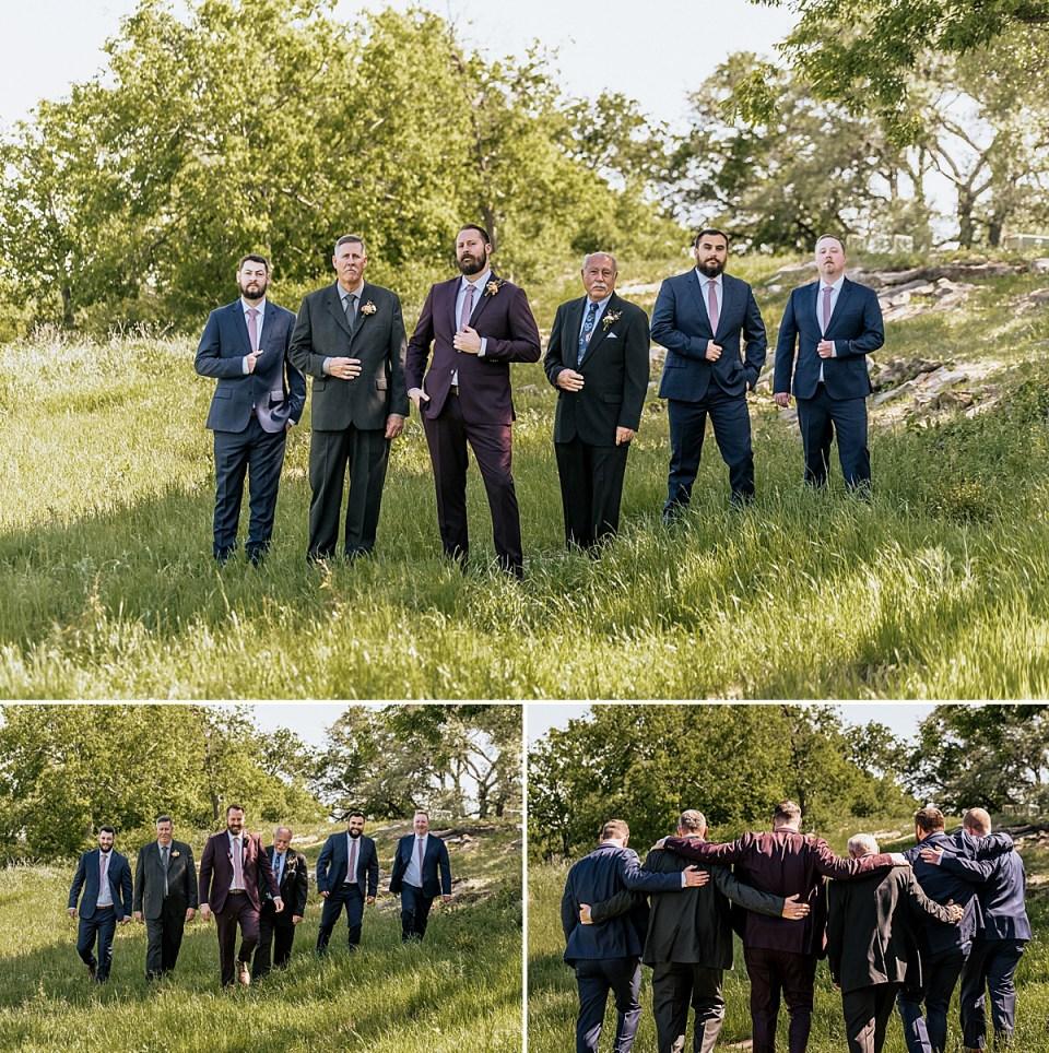 groomsmen in the grass for texas wedding