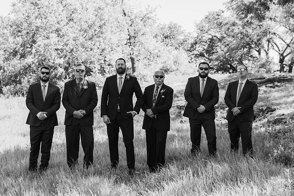 black and white grooms party photo