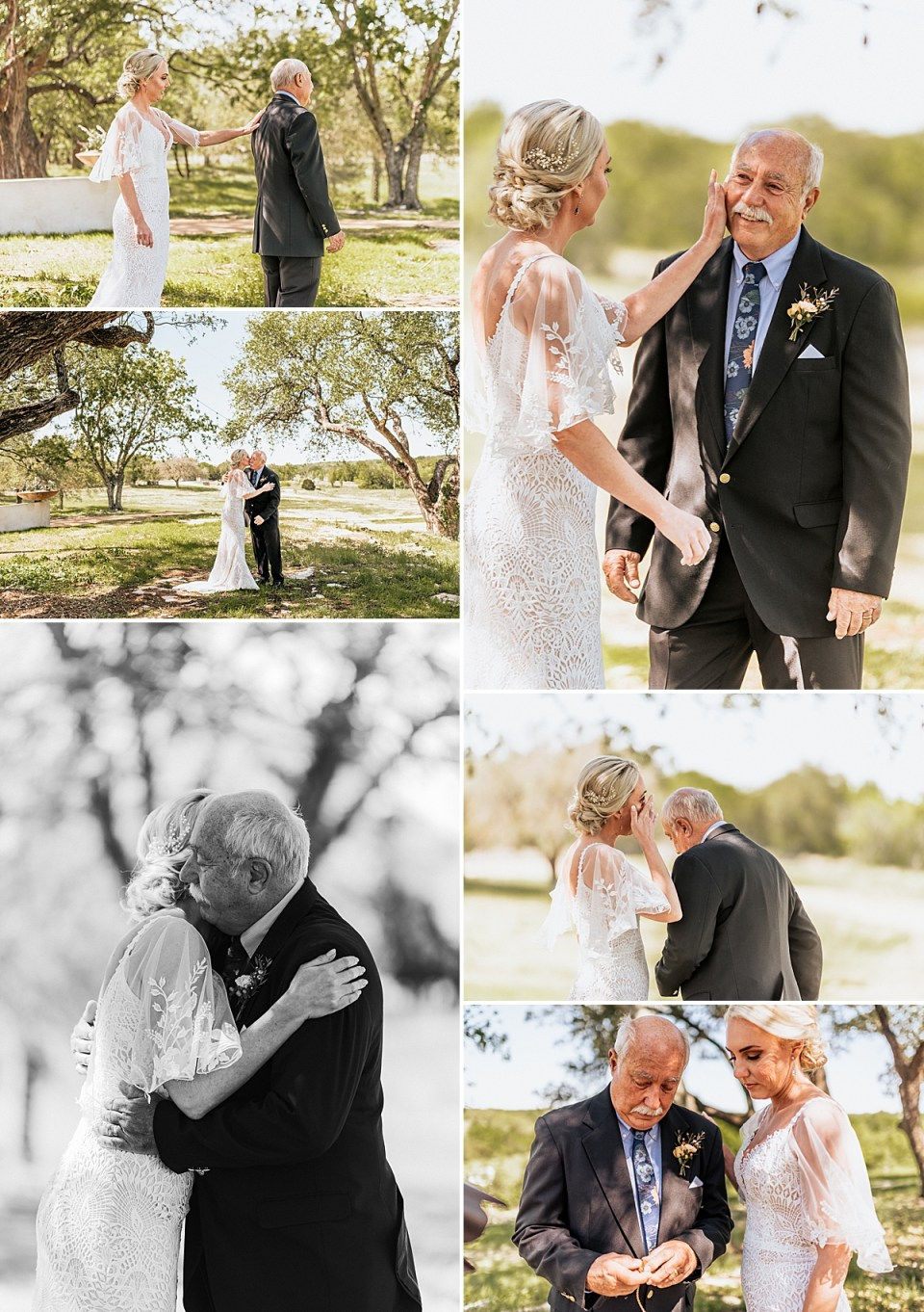 first look with dad and bride