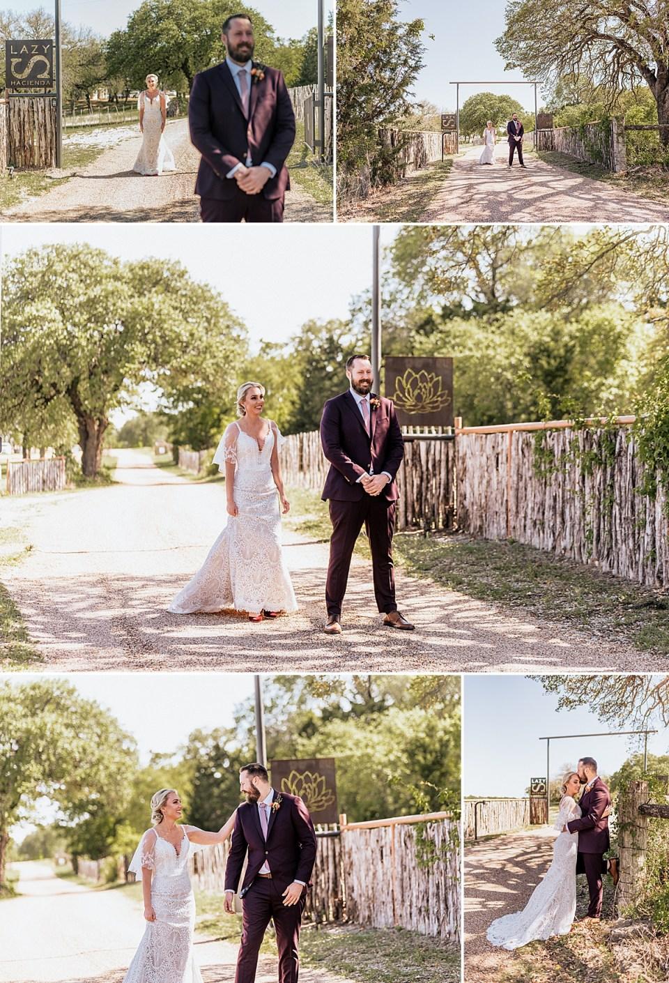 first look at lazy s hacienda wedding