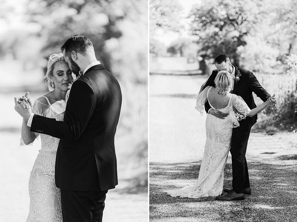 classic black and white wedding portrais
