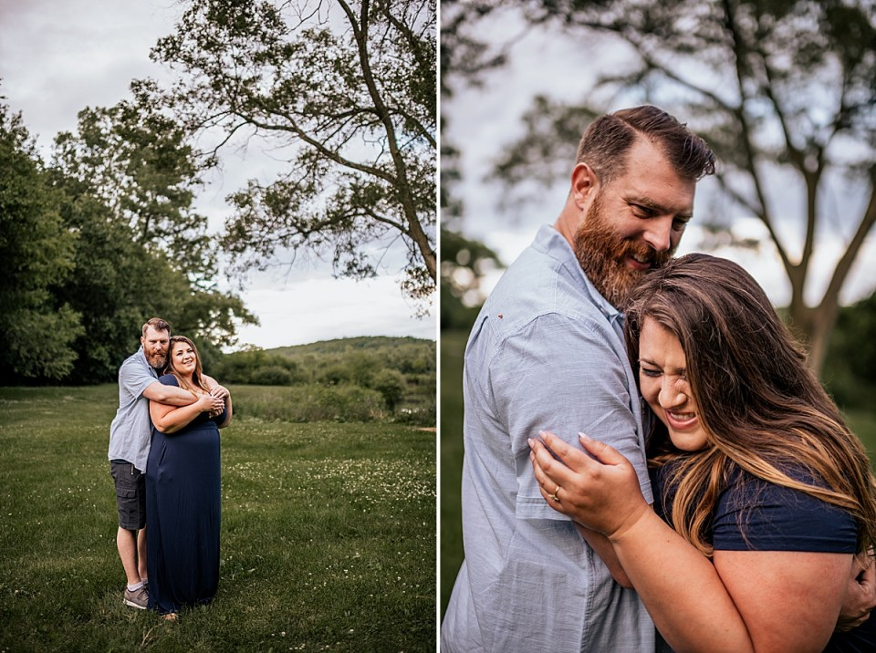 mom and dad hugging together during family session in elkhorn wisconsin