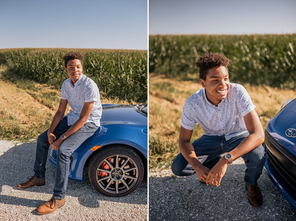 senior session with a car