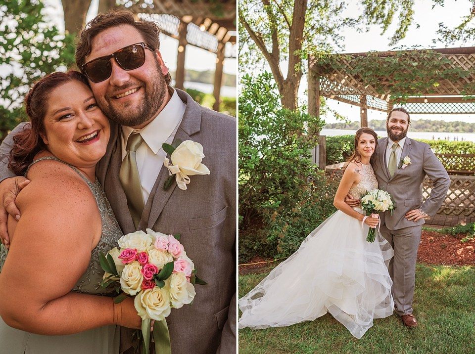 siblings with bride and groom