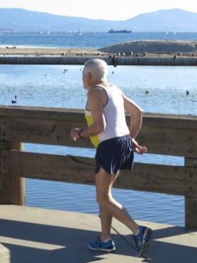 Ralph crossing the bridge near the wharf