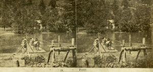 Rufus Morgan stereograph, Ferry over French Broad River at Alexander's, ca. 1870. University of North Carolina at Chapel Hill, Wilson Library, North Carolina Collection Photographic Archives