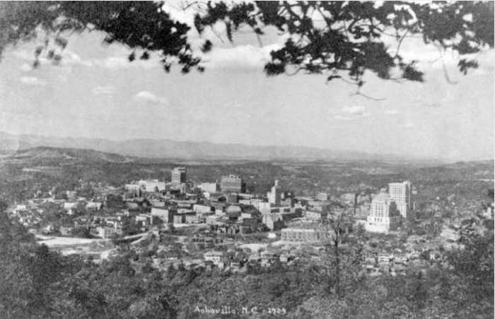 Asheville from Beaucatcher Mtn., George Masa, 1929. Pack Memorial Public Library, Asheville